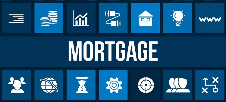 Mortgage concept image with business icons and copyspace.